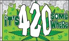 3x5 Ft It's 4:20 Somewhere Marijuana Leaf Flag Pot Weed Bud Smoking Joint 420 gf