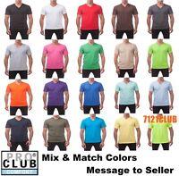LOT 3 PACK PRO CLUB MEN'S V NECK T SHIRTS PROCLUB BASIC PLAIN SHORT SLEEVE S-7XL