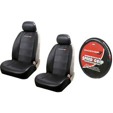 2 Elite Synthetic Leather Sideless Seat Covers & Steering Wheel Cover for Dodge