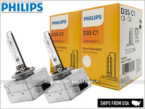 Philips D3S HID Standard Headlight Bulbs w/ COA label OEM 4300K 42302C1 X2 Bulbs