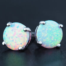 6 MM Woman Jewelry Gift Platinum Plated White Fire Opal Round Stud Earrings
