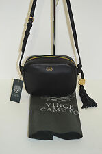 Vince Camuto Alesi Black Leather Tassel Crossbody/Shoulder Bag/Purse W-ALESI-C8