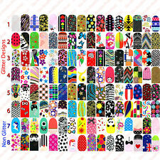 100x WHOLESALE FULL NAIL WRAPS STICKERS - Random Designs Art Decals Glitter -NEW