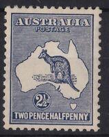K1029) Australia 1915 2½d Indigo Kangaroo 2nd wmk BW 10, excellent centring