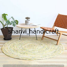 Handmade Braided Round Natural Multi Color 4 Feet Jute Rug Area Rugs Carpet Mat
