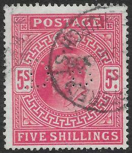 King Edward VII  SG263 5/- Red PERFIN r9088