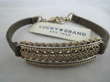 Lucky Brand gold tone cutout face~suede cord bracelet, NWT