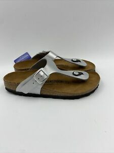 Birkenstock Womens Gizeh Silver Thong Sandals Size 37 N , 486