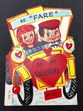 Vtg 40s 50s Old Time Automobile Car Valentines Card Ephemera Greeting Die Cut US