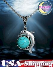 New Tibetan Silver Chain with Dolphin & Turquoise Pendant Necklace