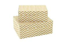 NEW set 2 large yellow chevron Decorative Storage Boxes Trinket Jewellery Box