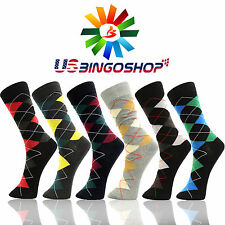 6 Pairs YDS16 YELETE Cotton Men's Argyle Diamond Dress Socks 10-13 Multi Color