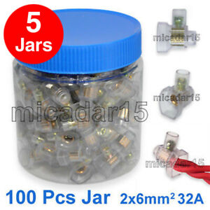 BULK  5 Jars x 100 x SINGLE Screw Connectors in Jar, Cable Wire Joiner Terminals