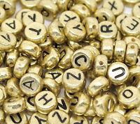 "New: 500 Antikgold Buchstaben ""A-Z"" Acryl Spacer Perlen Beads Zwischenteile 7mm"