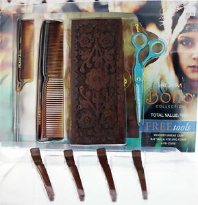Shear Set. Fromm Boho Collection. Shears, wooden shear case, combs, and clips