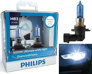 Philips Diamond Vision White 5000K 9005 HB3 65W Two Bulbs Head Light Replacement