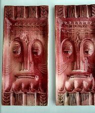 "Vintage Tiki Ashtrays Ceramic Pair  Made in Japan 11"" x 5"" Mid Century Set"