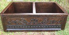 * 50/50 Copper Double Bowl Farmhouse Kitchen Sink FLEUR DE LIS  Gauge 16 !!