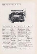 KÖLN-DEUTZ/PINNEBERG, Typentafel 1935, Humboldt-Deutzmotoren AG JLO-Werke GmbH