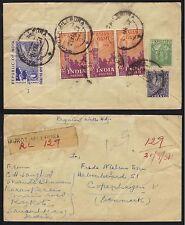 INDIA - RAJKOT - MILLPURA / 1951 REGISTERED COVER TO DENMARK (ref 6308)