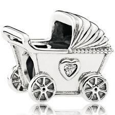 PANDORA Charm Element 792102 CZ Kinderwagen Silber Bead