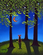 Airedale Welsh Terrier Dog Moon Large Art Print Todd Young Painting Spring Night 00004000