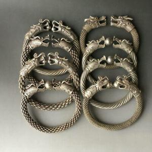 Rare Collectible Antique Tibet Silver Bangle Handwork Auspicious Dragon Bracelet