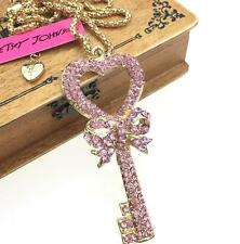Charm Betsey Johnson Jewelry pendant Chain Rhinestone Heart-shaped keys Necklace