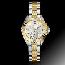 GC GUESS COLLECTION 2,TWO TONE GOLD,SILVER KNURLED+MOP SWISS WATCH G70002L1+BOX