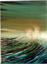 ACEO GLOSSY PRINT Sunset Seascape Waves Sea Spray Collectible Art Print HYMES