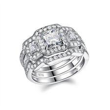 Sterling Silver 3pcs Princess Cz 5-12 Engagement Wedding Ring Set For Women 925