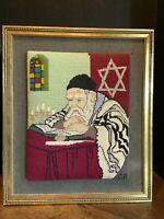 "Judaica Vintage ""Rabbi Reading the Torah"" Original Framed Needlepoint Art"