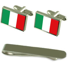 Italy Flag Silver Cufflinks Tie Clip Engraved Gift Set