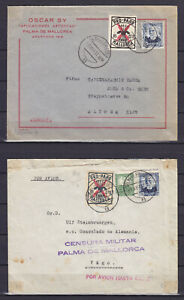 SPAIN 1937, MALLORCA LOCAL STAMPS ON TWO COVERS, MILITARY CENSORSHIP