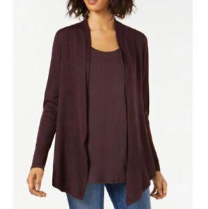 Eileen Fisher Italian Merino Wool Cardigan Sweater Brown Size Petite Medium NEW