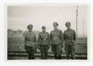 3 Army Officers Proud Pose w/ Soldier & Newly Awarded Iron Cross German Photo