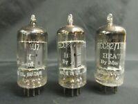 3- MATCHED 1958 MULLARD 12AU7 / ECC82 GOALPOST GETTERS LONG PLATES K61 TUBES