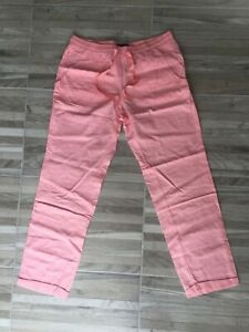 Victoria's Secret linen cotton beach pants trousers bottom pink 12 Large