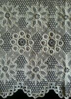 """Antique Lace Trim Wide Panel Needle Edging Flounce Rustic 10"""" Vtg Costume Sewing"""