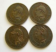 g332 France 10 centimes 1850's Satirique Napoléon III - 4 bronze coins lot