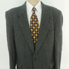 46 L Farah Gray Herringbone Tweed Pure Wool 2 Btn Mens Jacket Sport Coat Blazer