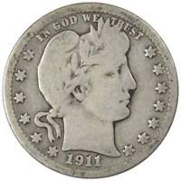 1911 D Barber Quarter AG About Good 90% Silver 25c US Type Coin Collectible