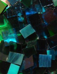 Mosaic Glass: BLUE-GREEN/TEAL, 5 oz Stained Glass Pack (abt 100 Hand Cut Pieces)