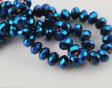 Bulk 200Pcs Metal Blue Crystal Glass Faceted Rondelle Bead 4mm Spacer Findings