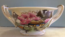Hand Painted Gilt Porcelain Rice Soup Bowl Mountain Scene Huts Cherry Blossoms