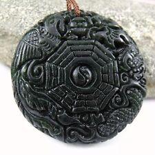 Black Green Jade eight-diagram-shaped appetizer Amulet Pendant