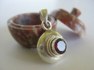 Garnet Silver Pendant ~ Sterling, Small round facet cut