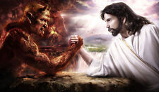 Yugioh PlayMat God vs Devil Arm Wrestling Satan vs Jesus Custom Game Mat