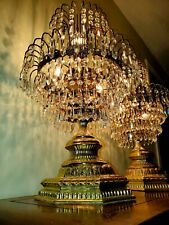 Vintage Crystal cut Brass waterfall table lamps