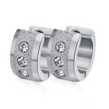 Unisex 316L Stainless Steel Round Stud Hoop Huggie Loop Earrings Cubic Zirconia